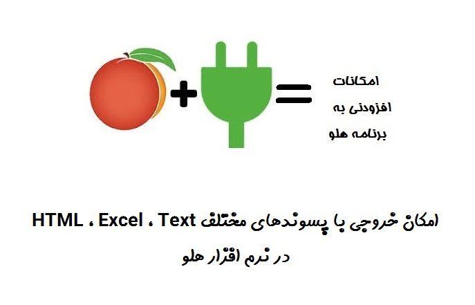 امکان خروجی با پسوندهای مختلف Text ، Excel ، HTML